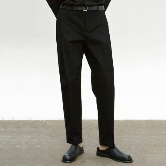 COTTON TAPERED PANTS_BLACK