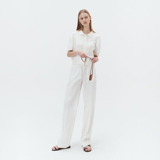 BAMBOO BANDED SEMI-WIDE PANTS OFF WHITE_UDPA1E222CR