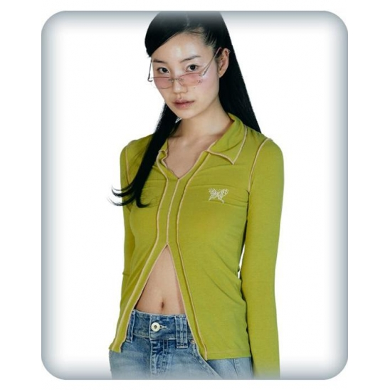 COLOR CONTRAST STITCH COLLARED TOP [OLIVE]