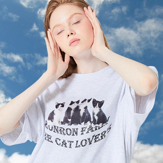 OVER FIT CATS T-SHIRT WHITE MELANGE