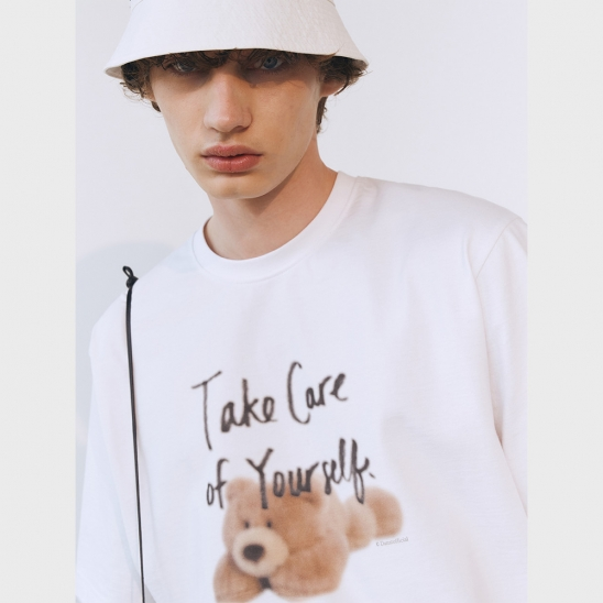 UNISEX TAKE CARE TEDDY T-SHIRT OFF WHITE_M_UDTS1E113WT