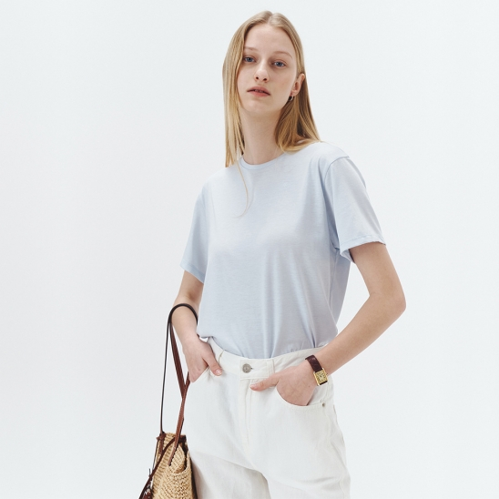 SILK-BLEND ESSENTIAL T-SHIRT BABY BLUE_UDTS1E212B2