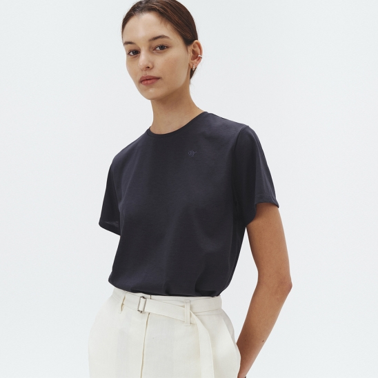 SILK-BLEND ESSENTIAL T-SHIRT MIDNIGHT CHARCOAL_UDTS1E212G3