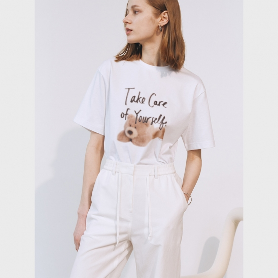 UNISEX TAKE CARE TEDDY T-SHIRT OFF WHITE_UDTS1E113WT