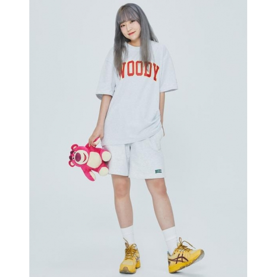 JERSEY HALF PANTS WITH TOYSTORY WHITE MELANGE