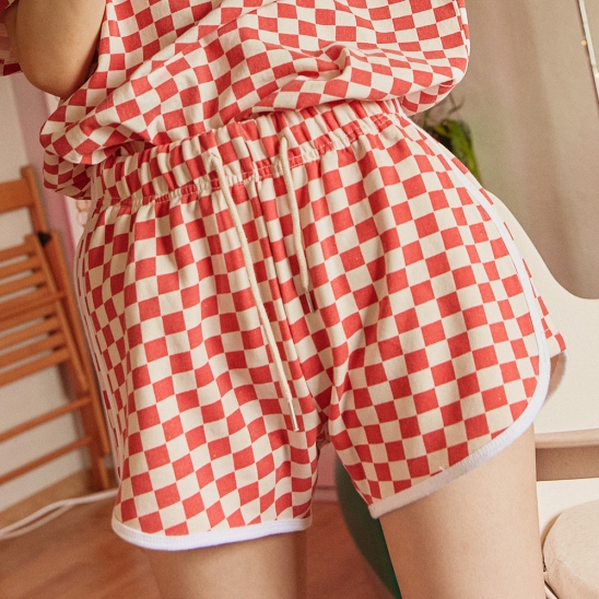 HOUSE OF CHECK SHORTS RED
