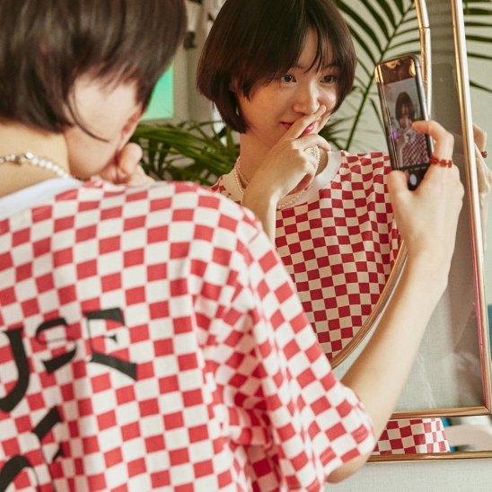 HOUSE OF CHECK T-SHIRT RED