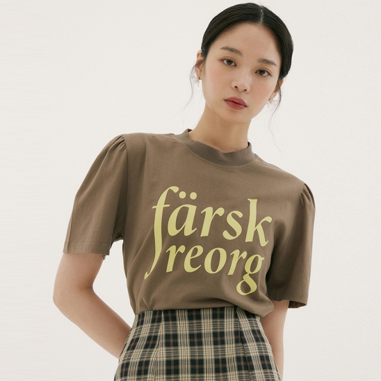 FSK PRINTING  PUFF-SLEEVE T-SHIRTS BROWN
