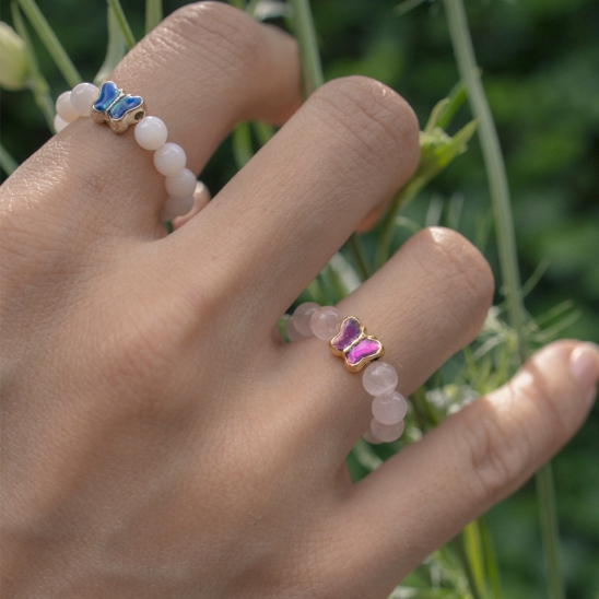 Butterfly with gemstone ring