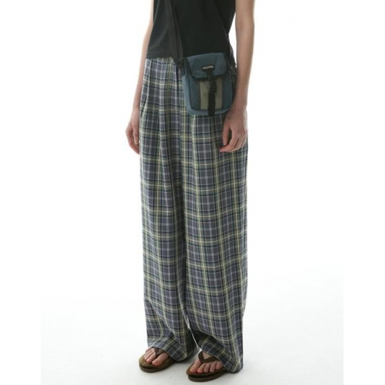 Check Wide Pin Tuck Pants Blue/Ivory