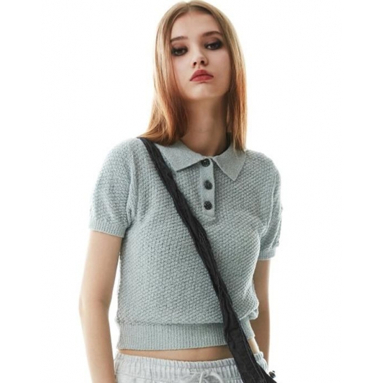 Boucle Polo Knit top Heather Blue