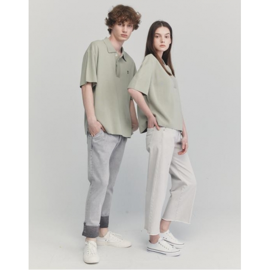 [UNISEX] SAGE OVER FIT ALL-DAY SUMMER POLO SWEATER