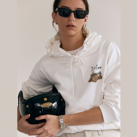 UNISEX TAKE CARE TEDDY HOODIE OFF WHITE_UDTS1C104WT