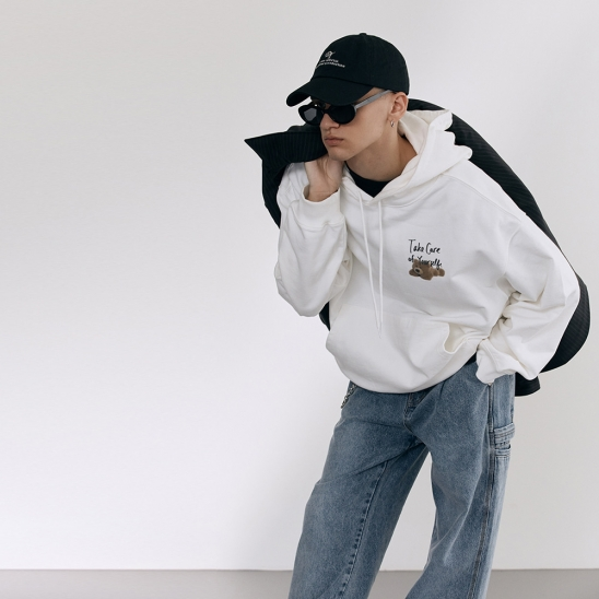 UNISEX TAKE CARE TEDDY HOODIE OFF WHITE_M_UDTS1C104WT