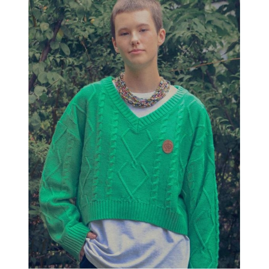 V NECK HEART CABLE KNIT_GREEN