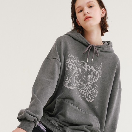 PIGMENT GRAPHIC HOODIE CHARCOAL