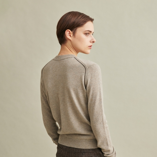 Todd&Duncan Cashmere 100% Roundneck Knit Top Grey