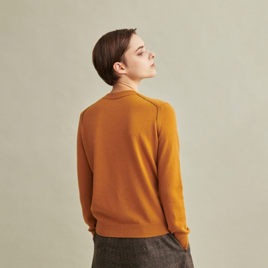Todd&Duncan Cashmere 100% Roundneck Knit Top Mustard