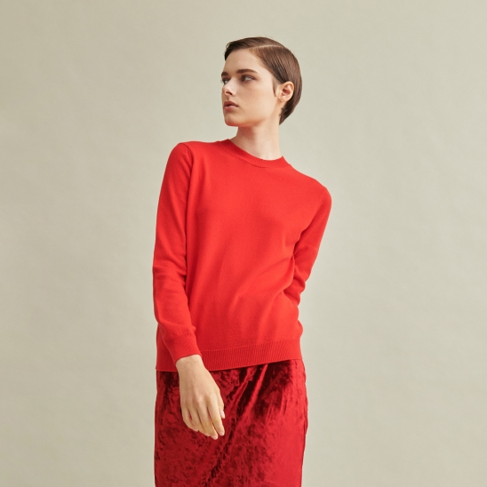 Todd&Duncan Cashmere 100% Roundneck Knit Top Red