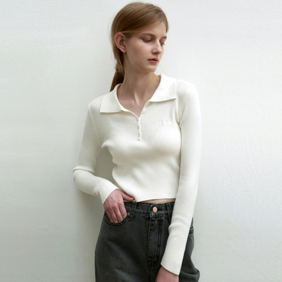 PIQUE COLLAR RIBBED KNIT_IVORY