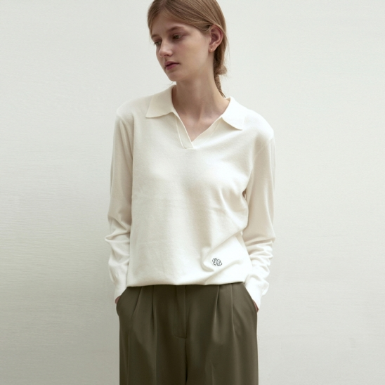 OPEN COLLAR KNIT TOP_IVORY