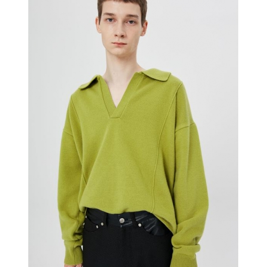 UNISEX Pin Tuck Collar Knit/Forest