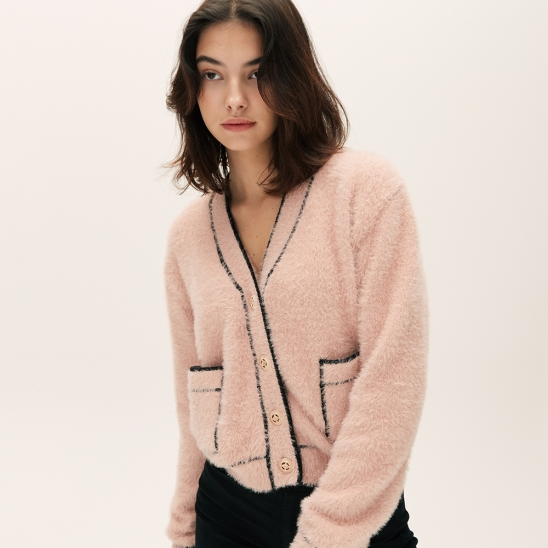 FEATHER LINE CARDIGAN [PINK]