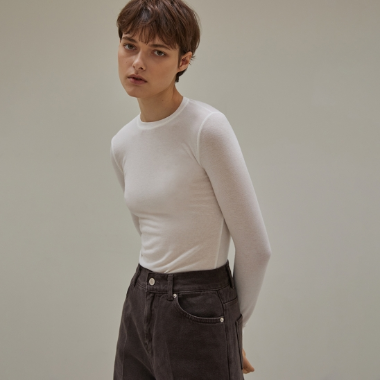 Wool cover stitch long-sleeve tee (ivory)