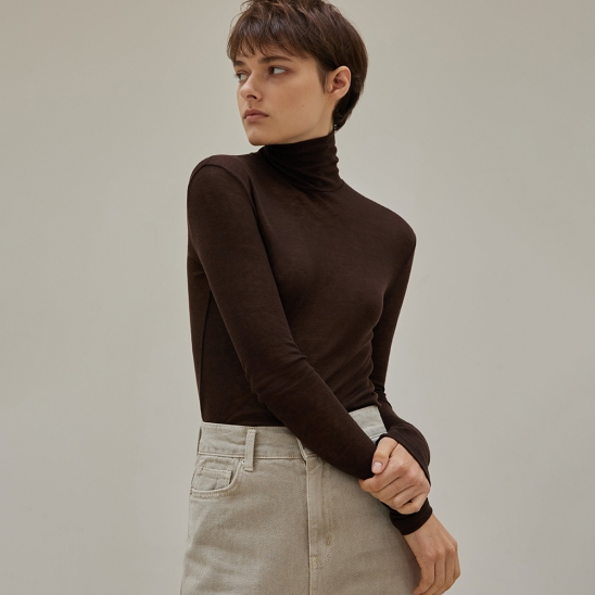 Wool cover stitch pola (brown)