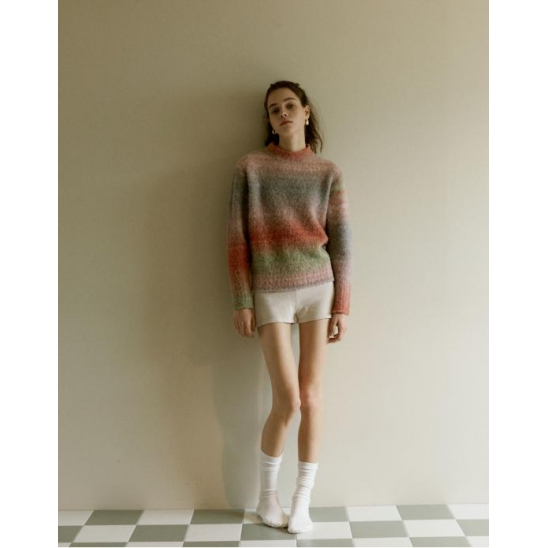 GRADATION COLOR DYED PULLOVER_PINK