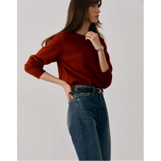 ESSENTIAL CASHMERE KNIT PULLOVER FRENCH RED_UDSW1C202R2