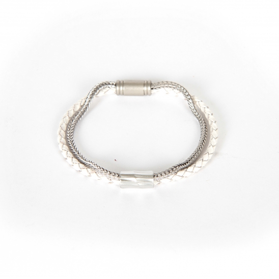 LEATHER CHAIN BRACELET_WHITE