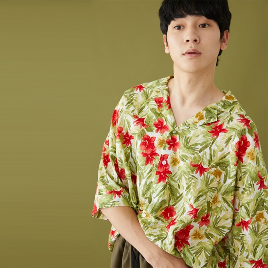 OPEN COLLAR HAWAIIAN SHIRT LIGHT OLIVE