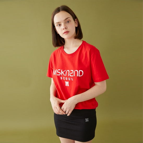 MSKN2ND LOGO PRINTED SS T-SHIRT RED