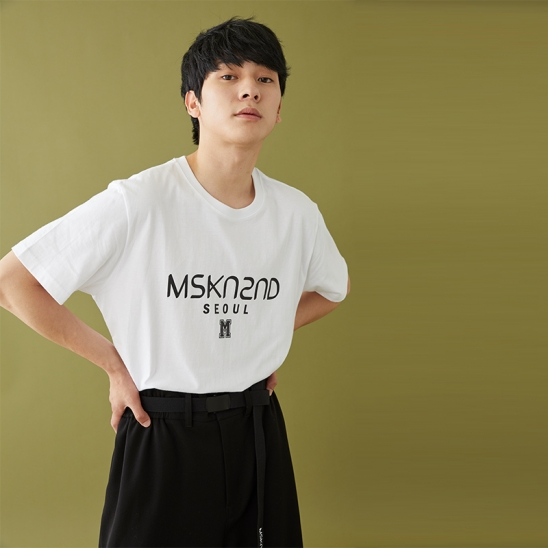 MSKN2ND LOGO PRINTED SS T-SHIRT WHITE