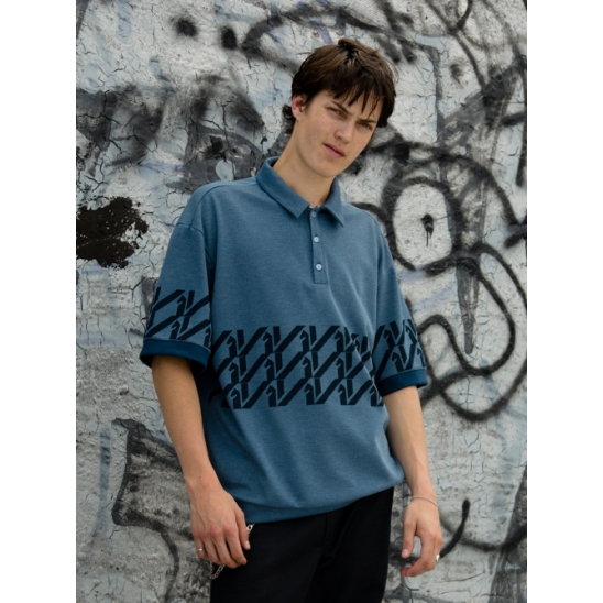 KILI PATTERN POLO - BLUE