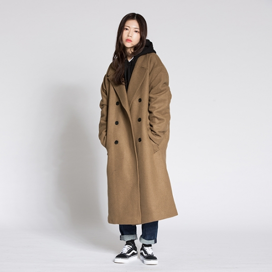 OVERFIT QUILTING DOUBLE LONG COAT LIGHT KHAKI