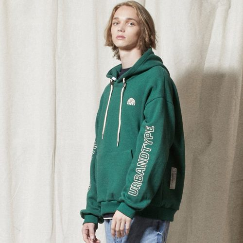 LT251_Rainbow Mark Sweatshirts Hoodie_DEEP GREEN