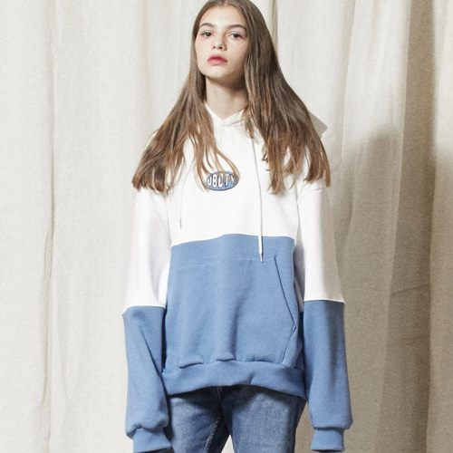 LT254_Oval Logo Color Block Sweatshirts Hoodie_WHITE-BLUE