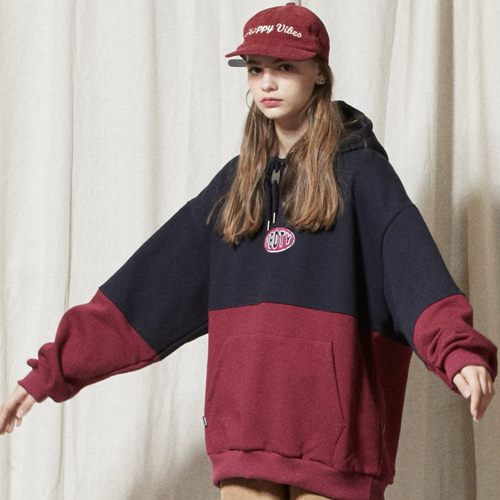 LT255_Oval Logo Color Block Sweatshirts Hoodie_NAVY-WINE
