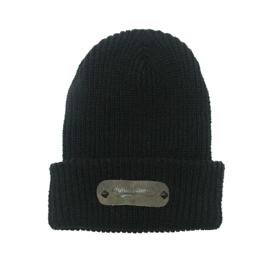 [에잇볼륨] EV Boca Leather Beanie (Black)