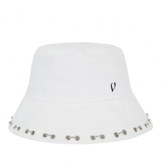 BLACK LINE PUNCHED PIERCING BUCKET HAT-white