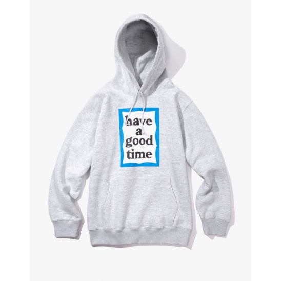 BLUE FRAME PULLOVER HOODIE - HEATHER GREY / 후디 후드 스웨트셔츠