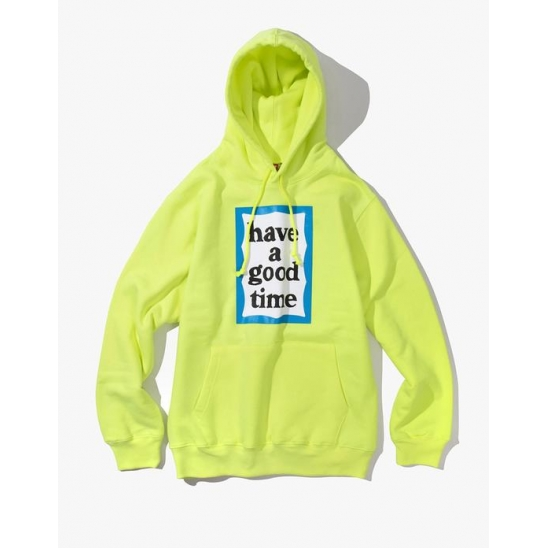 Blue Frame Pullover Hoodie - Neon Green / 후드 티셔츠