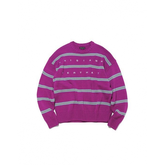 Striped Oversized Knit Sweater Purple