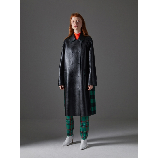 Check Mixed Double Face Eco Leather Coat_Black