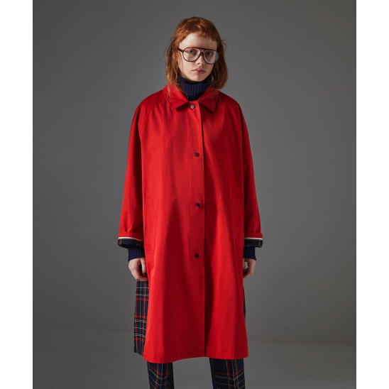 Check Mixed Trench Coat_Red