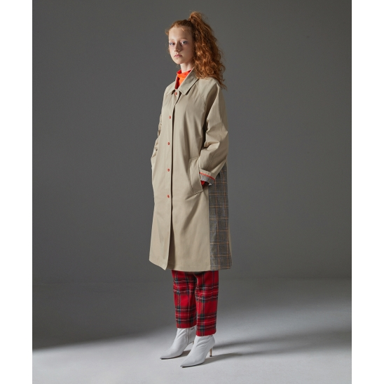 Check Mixed Trench Coat_Beige