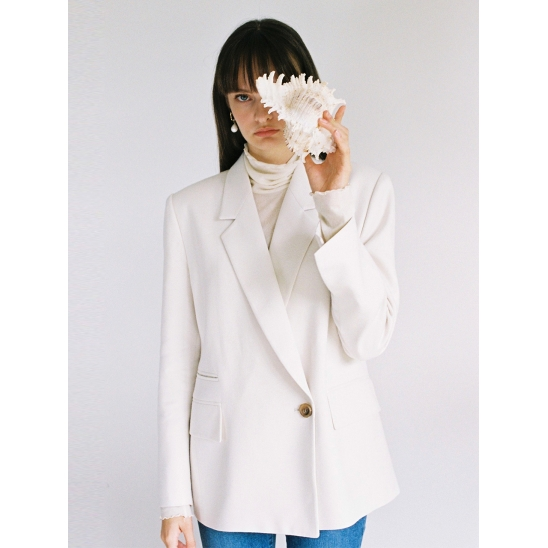 18fw double one Button jacket ivory