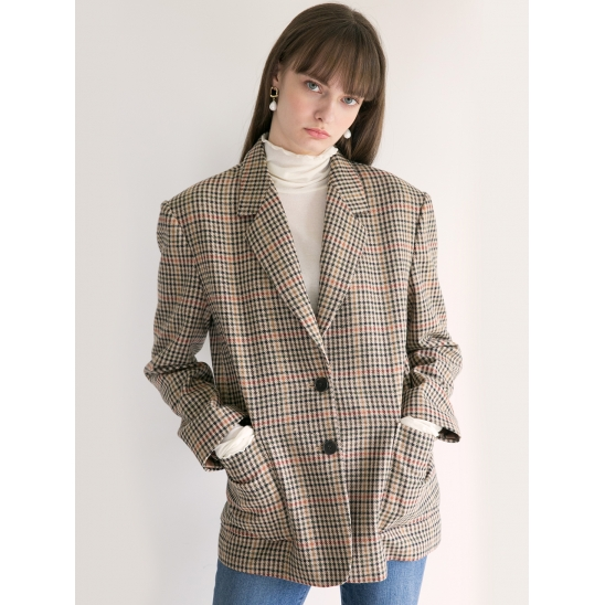 18fw out pocket jacket brown check